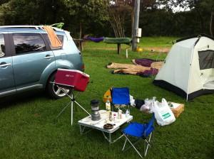 さくら、キャンプだって行きます。 テントでみんなで寝ます。 おトイレはシートでします。